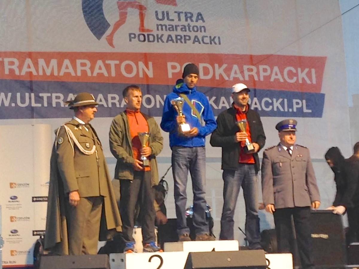 Ultramaraton Podkarpacki 2014 - podium Grzegorz Pożak